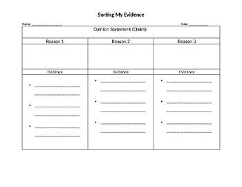 Opinion Essay Graphic Organizer Grade 4 and 5