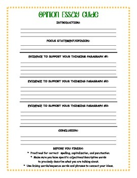 Opinion Essay Guide for Student Writing