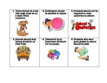 Opinion Essay Practice Task Cards