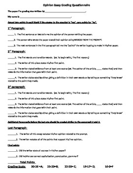 Opinion Essay Questionnaire