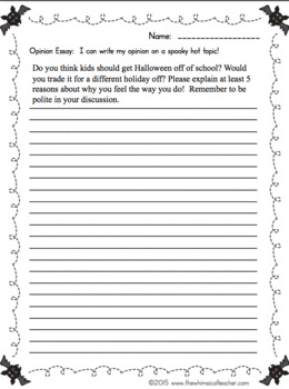 Opinion Essay Writing Workshop October Lessons and Hot Topics 3rd 4th 5th grade