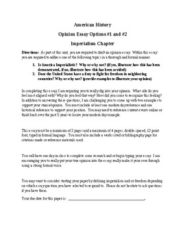 Opinion Essay on Imperialism in U.S. History