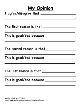 Opinion Graphic Organizer and Prompts