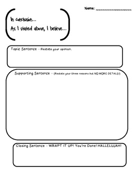 Opinion Graphic Organizer for Writing - 3 Paragraph