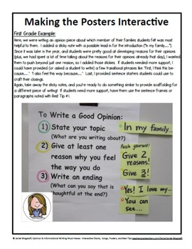 Opinion & Informational Writing Interactive Charts, Songs, Posters, Tips K-2