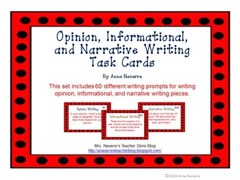 Opinion, Informational, and Narrative Writing Task Cards