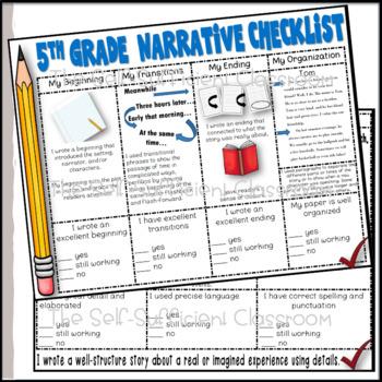 Opinion, Informative, and Narrative Checklists ~5th Grade