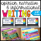 Opinion, Narrative, Informational Graphic Organizer and Anchor Chart Flip Book