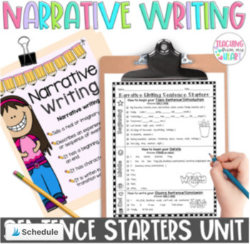 Opinion & Narrative Writing Transitions & Sentence Starters BUNDLE, ANY Topic