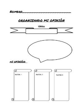 Opinion Organizer | Expressing my opinion in Spanish