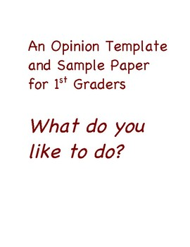 Opinion Paper Template for 1st Graders- FREE