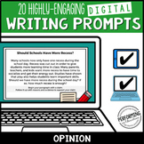 Opinion Paragraph Digital Writing Prompts for Google 3, 4,