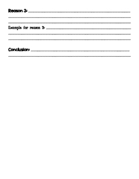 Opinion Paragraph Graphic Organizer