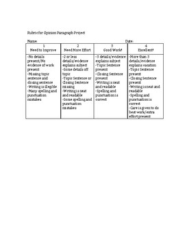 Opinion Paragraph Individual Packet