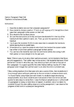 Opinion Paragraph Peer Edit