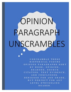 Opinion Paragraph Unscrambles (Women's Rights, President's Day, Black History)