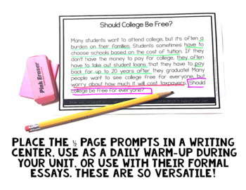 Opinion Paragraph Writing: 20 High-Interest Writing Prompts