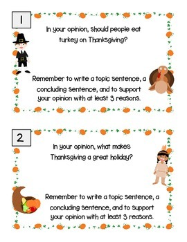 Opinion Paragraph Writing Prompts- Thanksgiving Themed