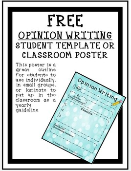Opinion Paragraph Writing Student Template or Classroom Poster