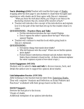 Opinion/Persuasive Writing 5th Grade Lesson 2: Introduction/Thesis Statement