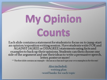 Opinion Persuasive Writing SLIDESHOW - 31 topics to use fo