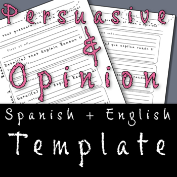 Opinion / Persuasive Writing Template (English and Spanish)