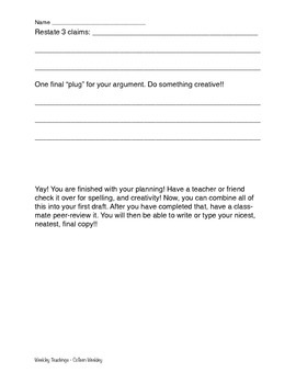 Opinion Piece 5 paragraph planning sheet