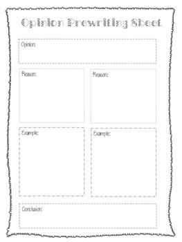 Opinion Prewriting Sheet - Graphic Organizer