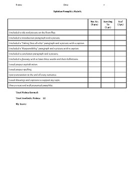 Opinion Project/Paper Rubric - Editable