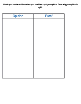 Opinion/Proof Graphic Organizer