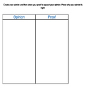 Opinion/Proof Graphic Organizer
