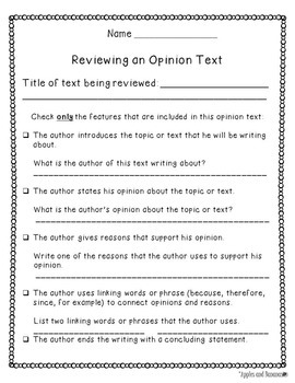 Opinion Writing - Writer's Workshop