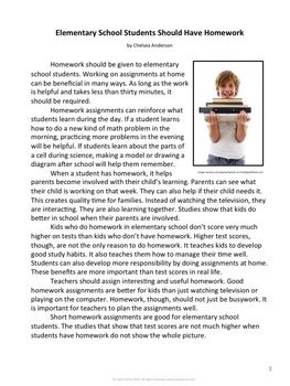 Opinion Writing and Opinion Reading - Should Elementary Students do Homework?