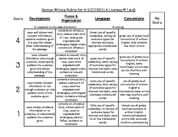 4-5 Opinion Rubric for CCSS Writing-Kid friendly
