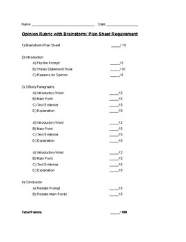 Opinion Rubric with Brainstorm/Plan sheet Requirement