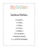 Opinion Sentence Starter Poster