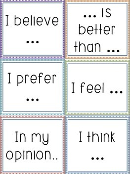 Opinion Sentence Starters (Anchor Chart & Task Cards)