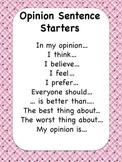 Opinion Sentence Starters Chart