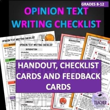 Opinion Text Writing Checklists ESL/ELA