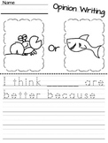 Kindergarten Opinion Writing Worksheets