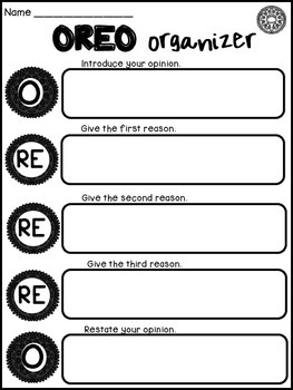 OREO Opinion Writing Graphic Organizer and Prompts