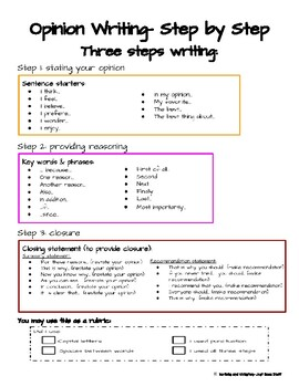 Opinion Writing-  3 and 4 steps