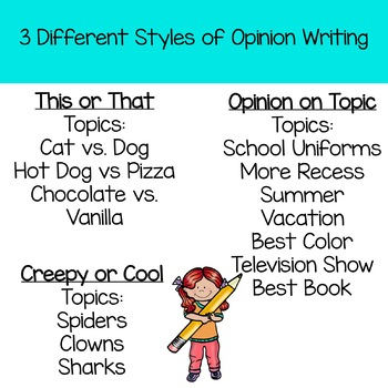 Opinion Writing For First and Second Grade