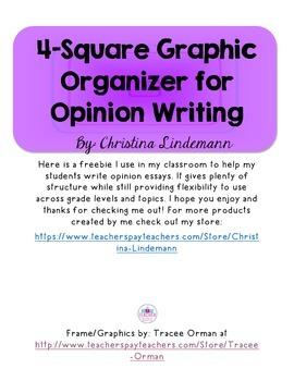 Opinion Writing: 4-Square Graphic Organizer