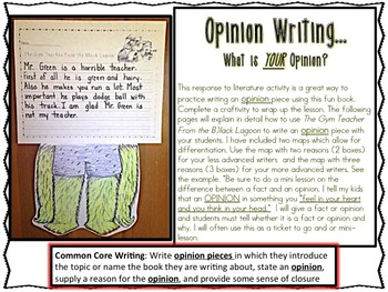 Opinion Writing: A Response To Literature The Gym Teacher From The Black Lagoon