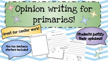 Opinion Writing Activity Sheets