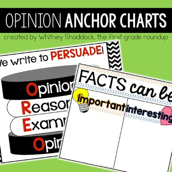 Opinion Writing Anchor Charts