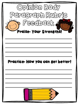 Opinion Writing Assessment with Rubric: Focus Body Paragraph