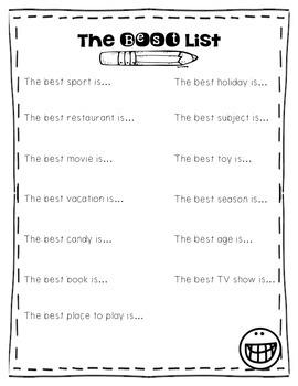 Opinion Writing Best List Freebie