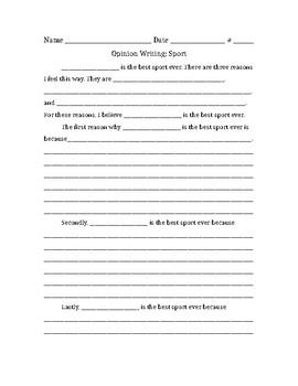 Opinion Writing - Best Sport